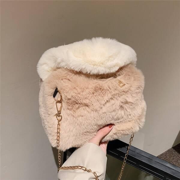 Minimalist Fluffy Chain Satchel Bag, Khaki