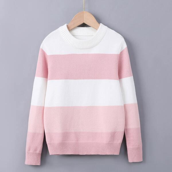 Girls Striped Colorblock Sweater, Multicolor