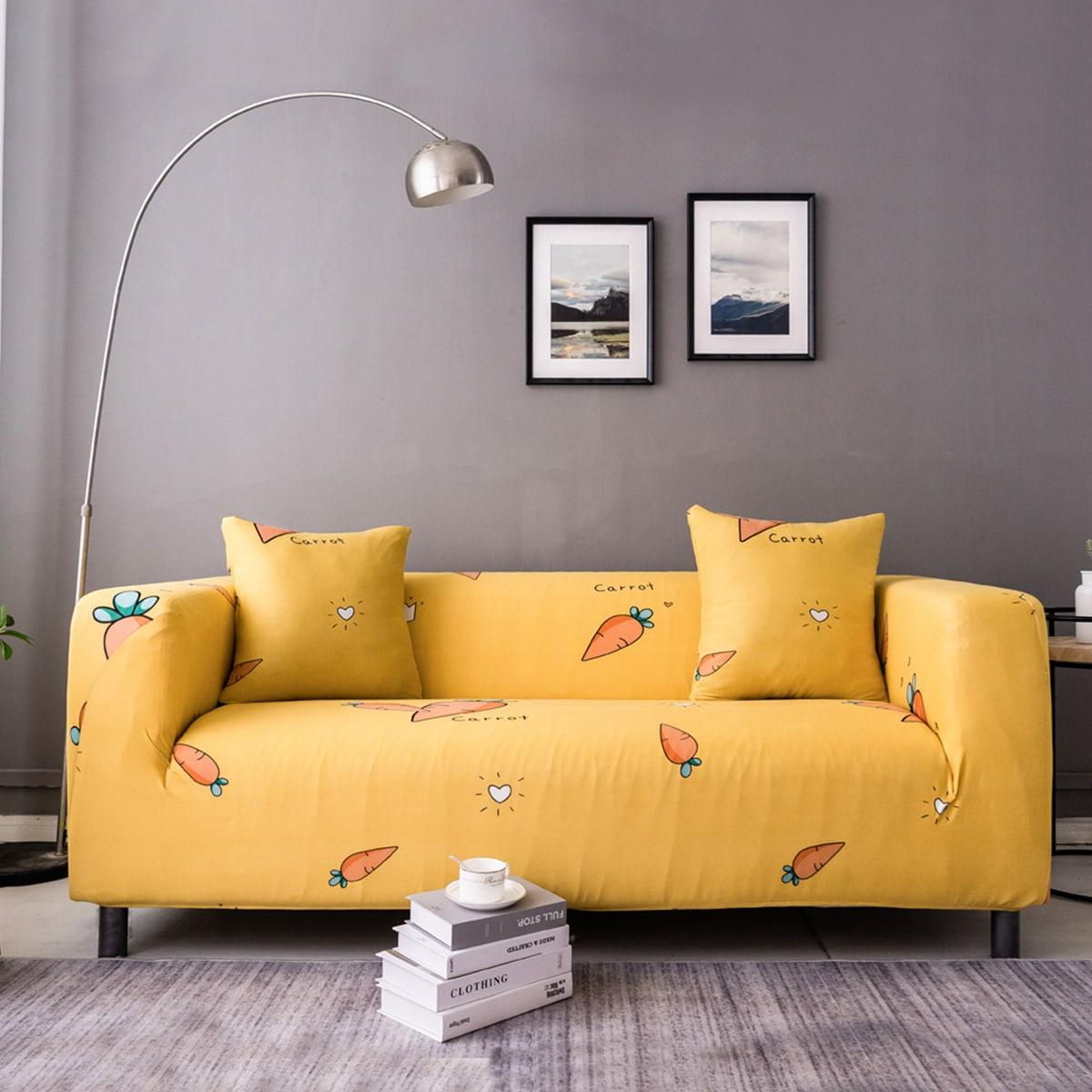 1 pièce Couverture de canapé à imprimé carotte & 2 pièces Housse de coussin (sans bourre)