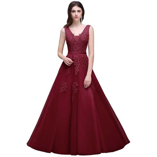 Guipure Lace Appliques V Back Mesh Bridesmaid Dress, Burgundy