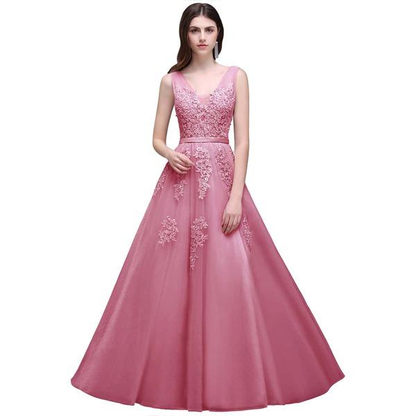 Guipure Lace Appliques V Back Mesh Bridesmaid Dress, Pink