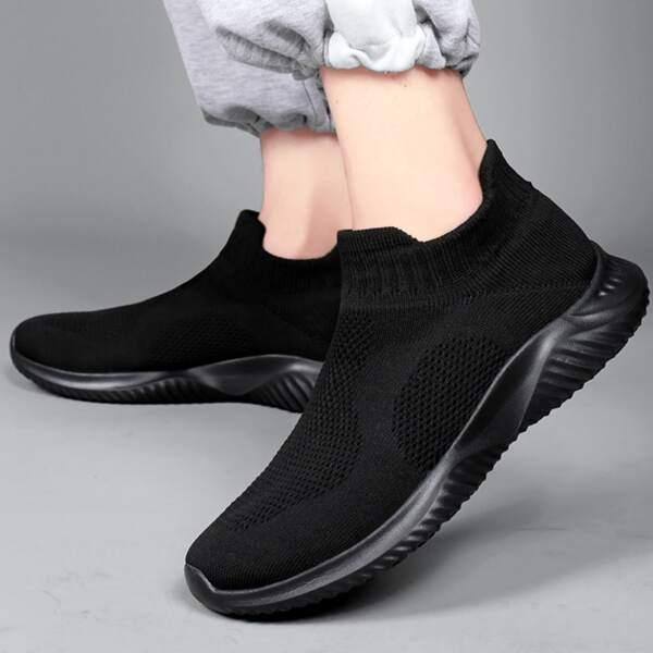 Men Minimalist Breathable Sock Sneakers, Black