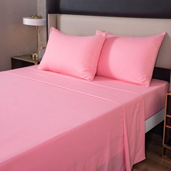 Plain Sheet Set Without Filler, Baby pink