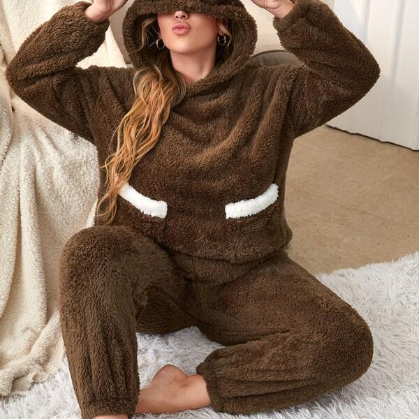 Plus Dual Pocket Drop Shoulder 3D Ears Design Flannel Hoodie & Pants PJ Set, Chocolate brown