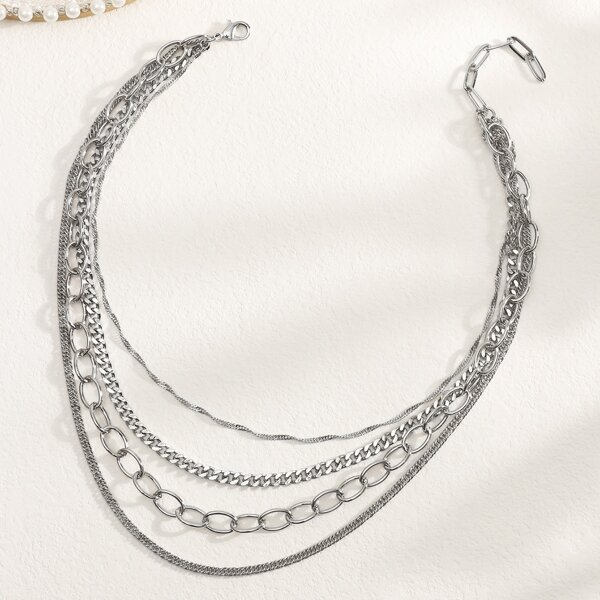 Simple Layered Necklace, Silver