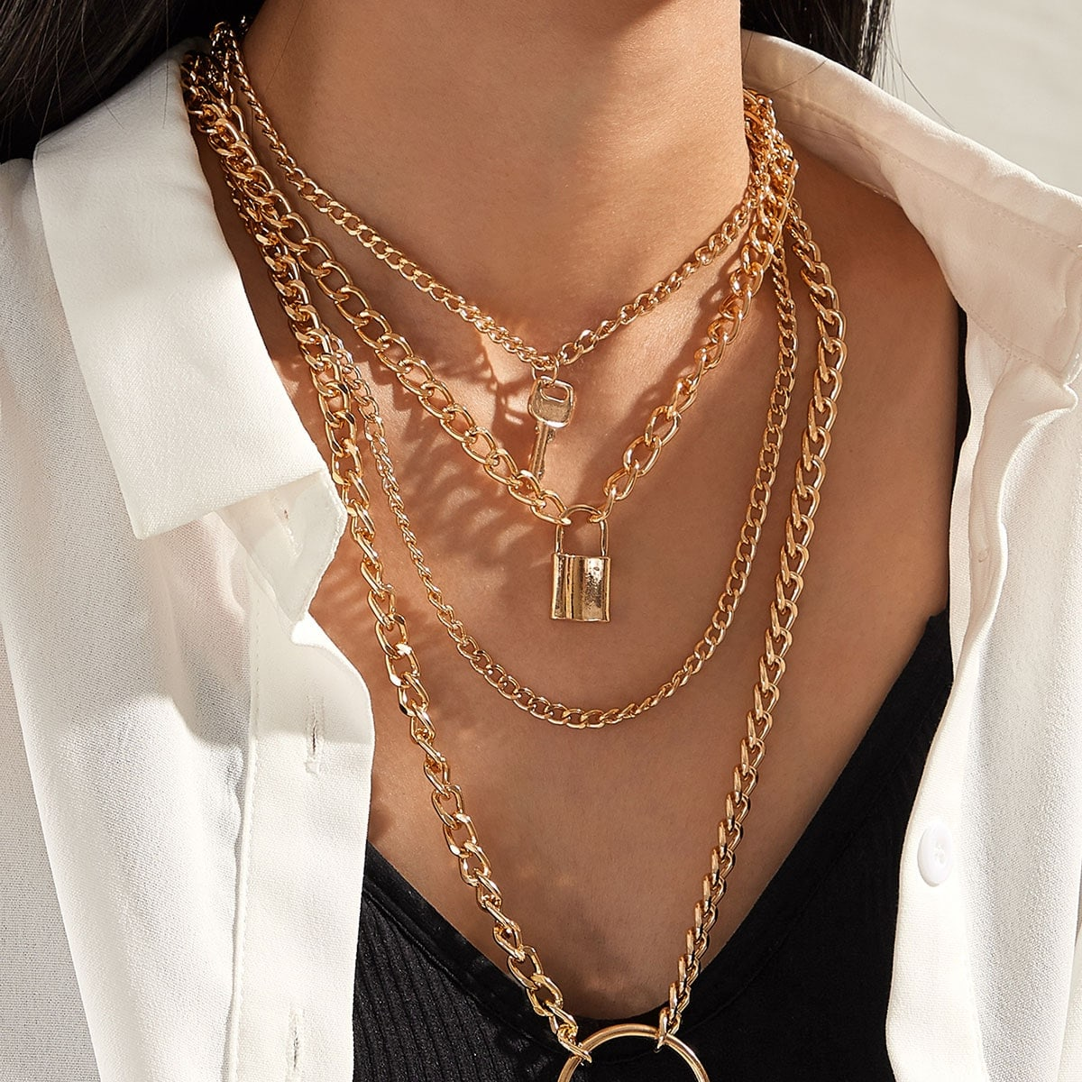 1pc Lock & Key & Ring Pendant Layered Chain Necklace