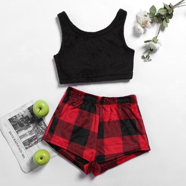 Solid Crop Tank Top & Plaid Print Shorts Flannel PJ Set, Multicolor