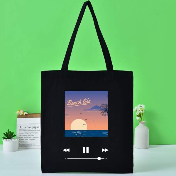 Minimalist Graphic Shopper Bag, Black