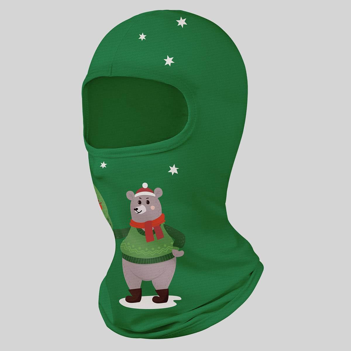 Маска для шеи рождественский с узором медведя