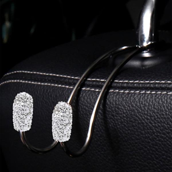 1pc Rhinestone Decor Car Seat Back Hook, Silver