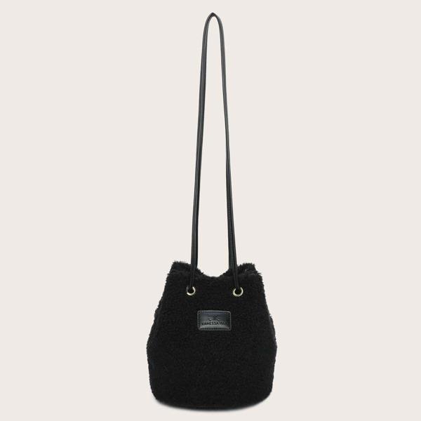 Letter Patch Fuzzy Bucket Bag, Black