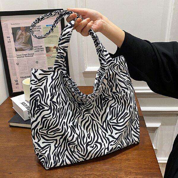 Zebra Stripe Print Shopper Bag, Black and white
