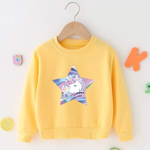 Toddler Girls Unicorn And Star Print Sweatshirt, Yellow