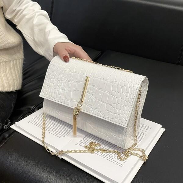 Croc Embossed Tassel Decor Chain Flap Square Bag, White