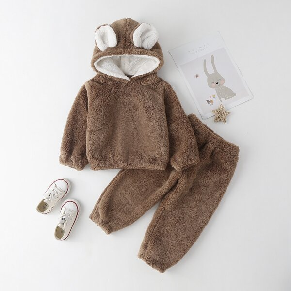 Toddler Girls 3D Ear Patched Teddy Hoodie With Pants, Mocha brown