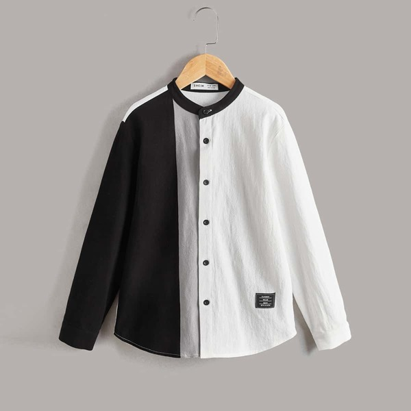 Boys Two Tone Patched Detail Shirt, Black and white