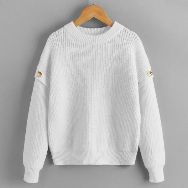 Girls Button Detail Ribbed Knit Drop Shoulder Sweater, White
