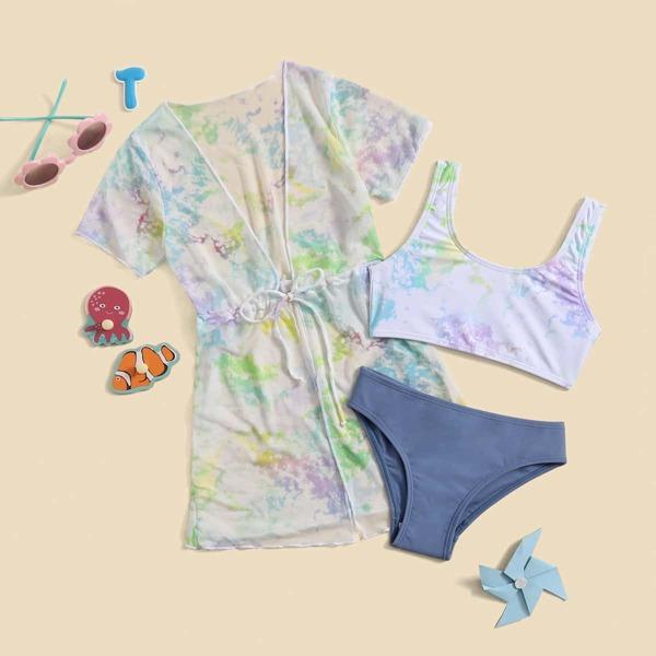 3pack Toddler Girls Tie Dye Bikini Swimsuit & Kimono, Multicolor