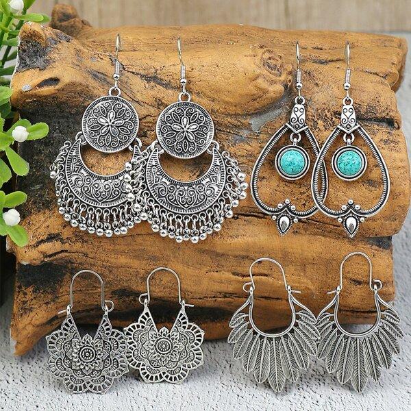 4pairs Textured Metal Drop Earrings, Antique silver