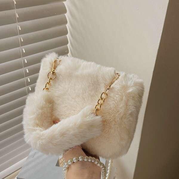 Minimalist Faux Pearl Decor Fluffy Satchel Bag, White