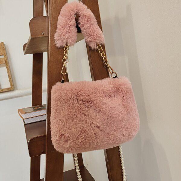 Minimalist Faux Pearl Decor Fluffy Satchel Bag, Pink