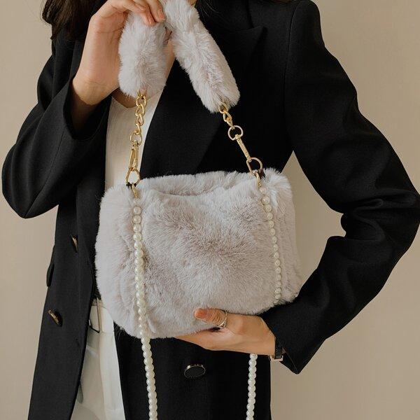 Minimalist Faux Pearl Decor Fluffy Satchel Bag, Grey