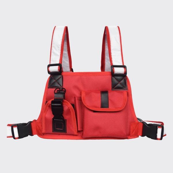 Buckle Decor Pocket Detail Chest Bag, Red