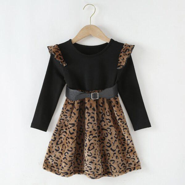 Toddler Girls Leopard Panel Ruffle Trim Belted Dress, Multicolor