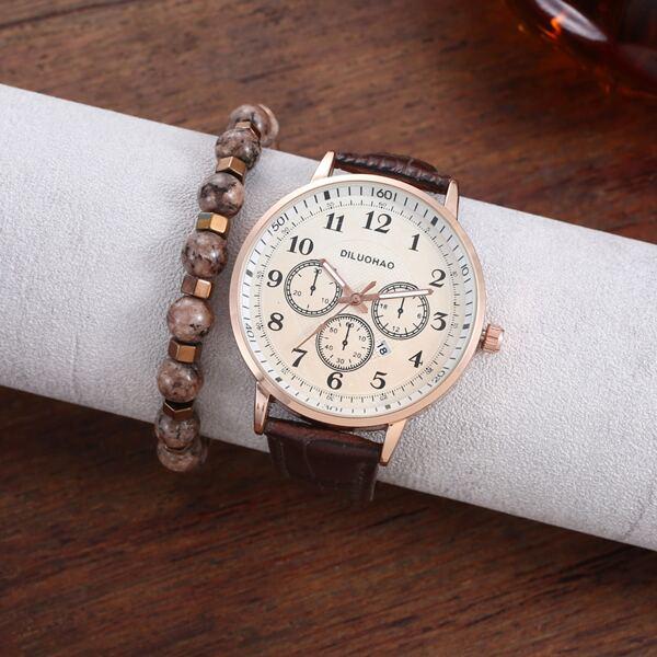 1pc Men Triple Dial Round Pointer Date Quartz Watch & 1pc Bracelet