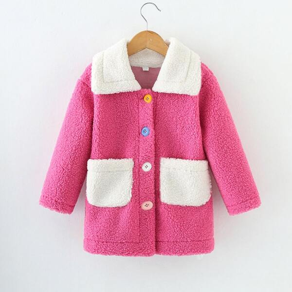 Girls Contrast Collar Pocket Patched Teddy Coat, Multicolor