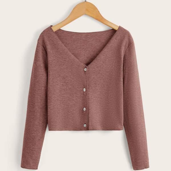 Girls Button Through Solid Cardigan, Dusty pink