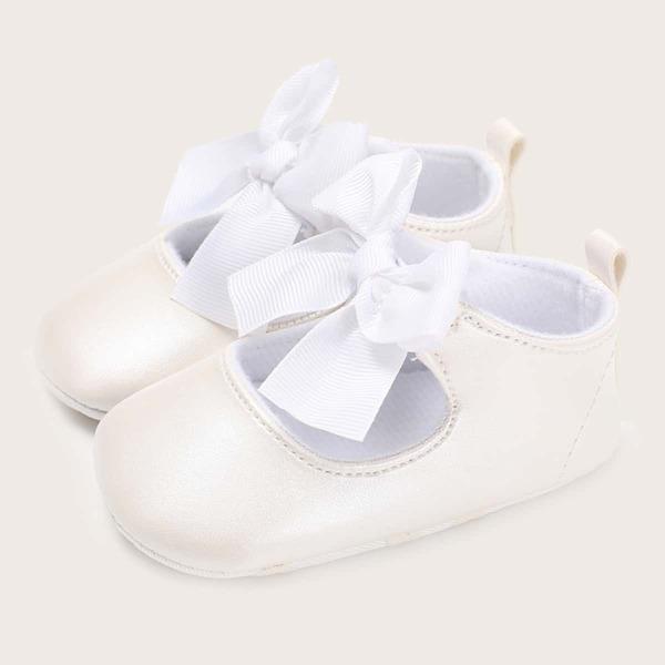 Baby Minimalist Bow Decor Flats, White
