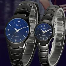 2pcs Couple Rhinestone Decor Round Pointer Date Quartz Watch