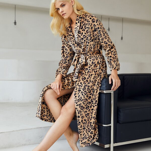 Leopard Print Belted Flannel Sleep Robe, Multicolor