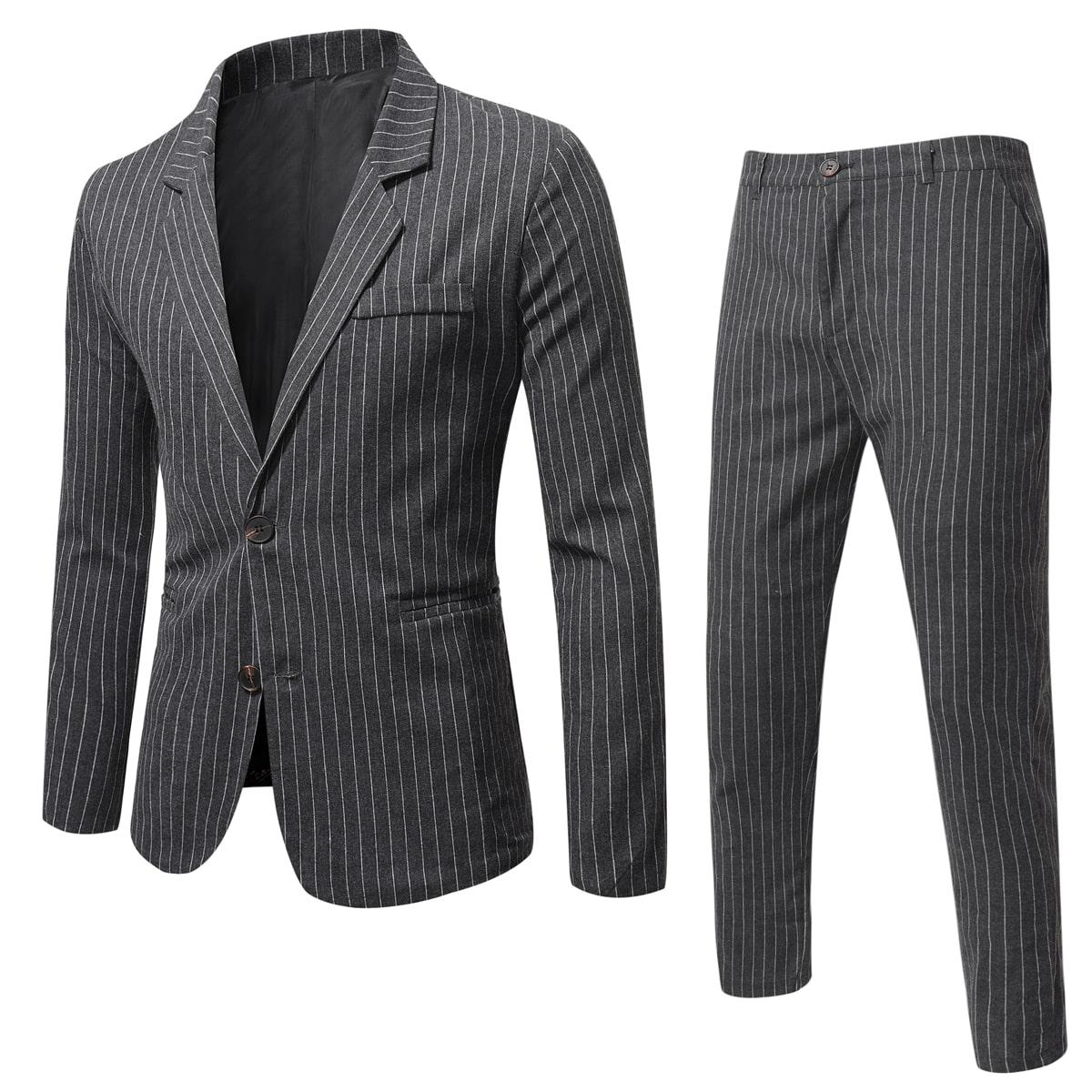 для мужчины в тонкую полоску с карманом Пиджак & Зауженные брюки