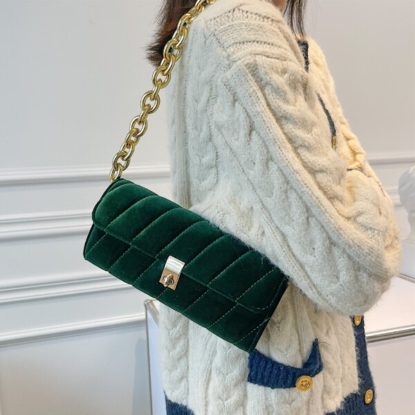Minimalist Quilted Twist Lock Chain Shoulder Bag, Dark green