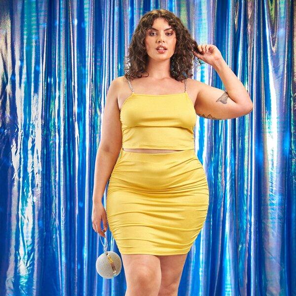 Plus Rhinestone Chain Detail Cami Top & Ruched Bodycon Skirt, Yellow