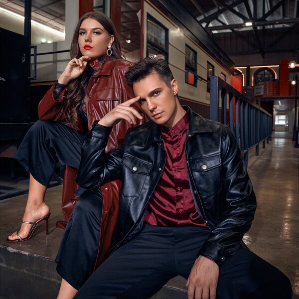 Plus 1pc Flap Detail Belted PU Leather Coat, Burgundy