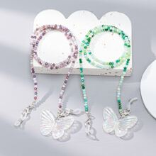 2pcs Butterfly Decor Face Mask Chain