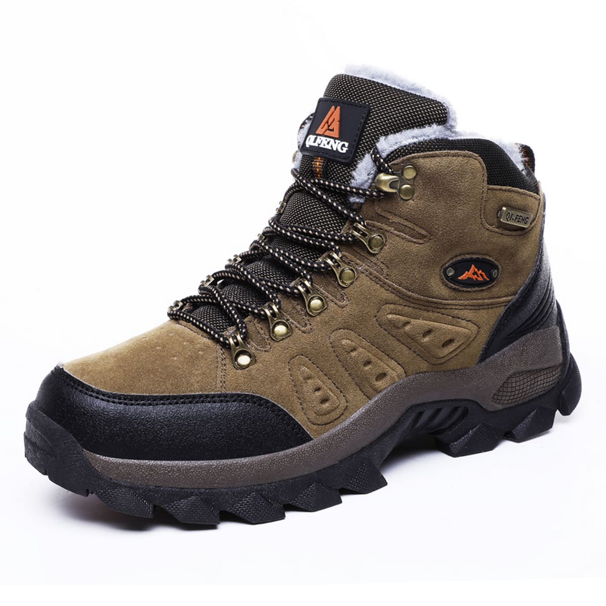 Men Two Tone Fuzzy Hiking Boots