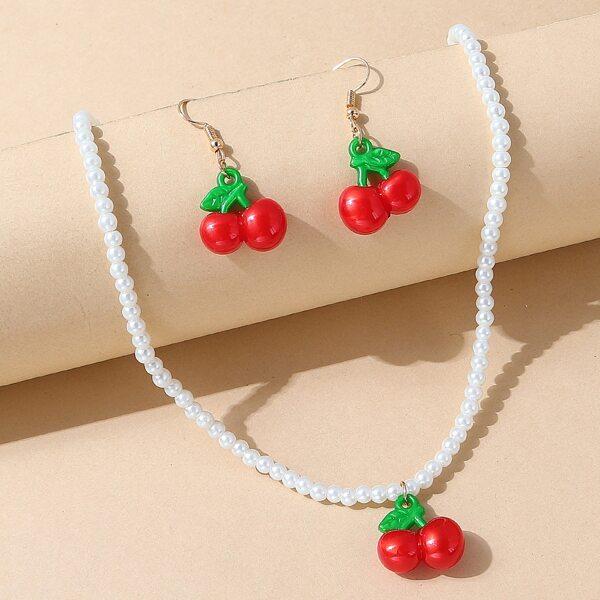 Cherry Pendant Necklace & 1pair Earrings, Multicolor