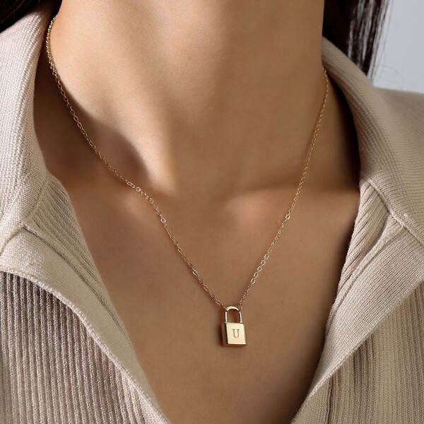 Letter Engraved Lock Charm Necklace, Gold