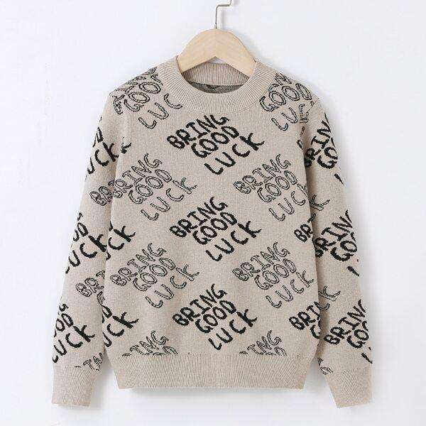 Boys Letter Pattern Sweater, Multicolor