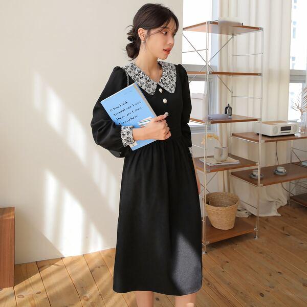 Contrast Collar Puff Sleeve Dress, Black