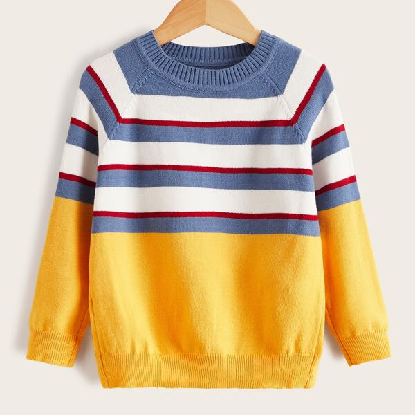 Toddler Boys Striped Pattern Colorblock Raglan Sleeve Sweater, Multicolor