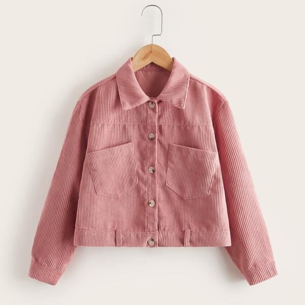 Girls Corduroy Dual Pocket Single Breasted Jacket, Dusty pink