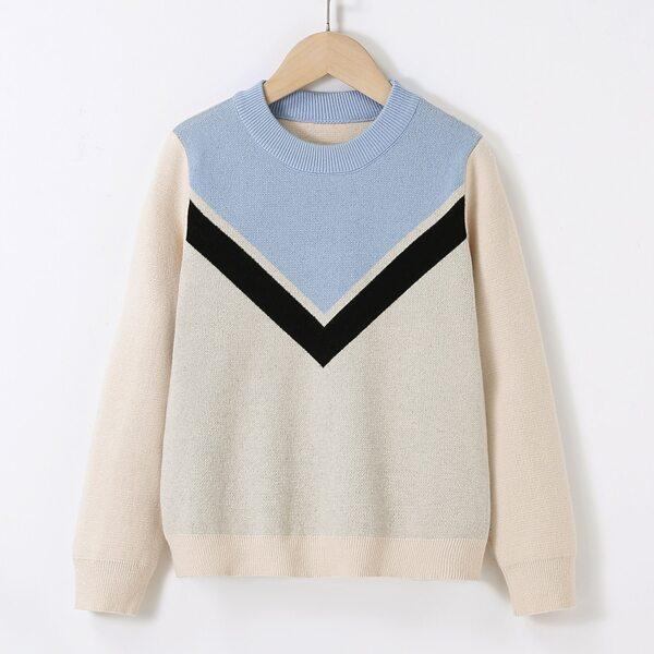 Girls Chevron Pattern Color Block Sweater, Multicolor