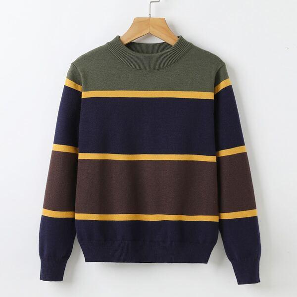 Boys Color Block Stripe Pattern Sweater, Multicolor