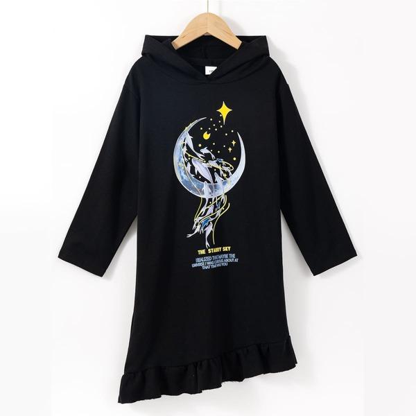 Girls Moon & Slogan Graphic Asymmetrical Ruffle Hem Hoodie Dress, Black