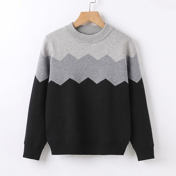 Boys Color Block Chevron Pattern Sweater, Multicolor